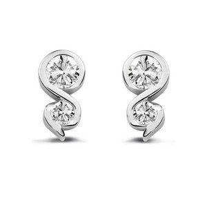 2.50 ct Sparkling round cut diamonds women studs e